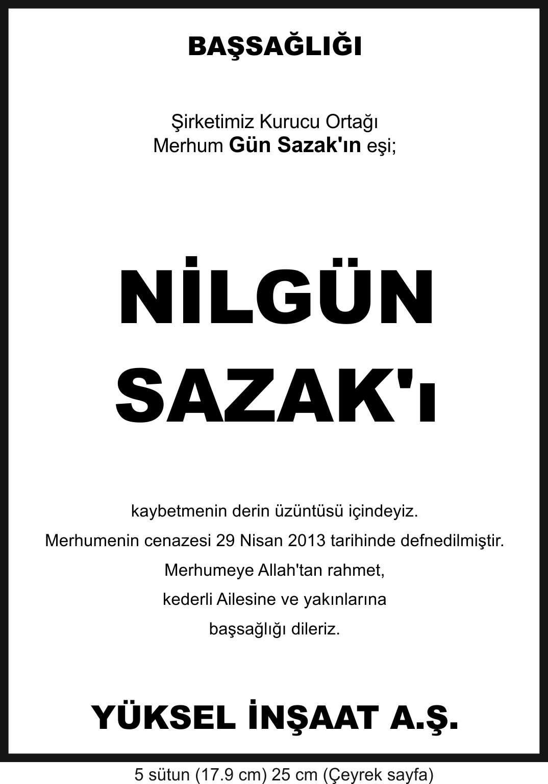 Hurriyet-vefat-ilani-Nilgn-Sazak-basal-ilan-yksel-inaat