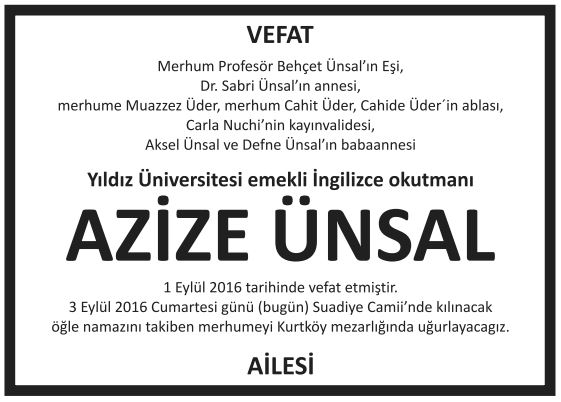 azize ünsal vefat ilanı