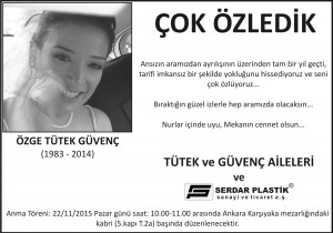4X10- 21.11.2015 TÜRKİYE BASKISI ÖZGE TÜTEK-ANMA İLAN-ANA GAZETE